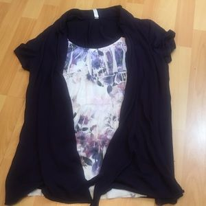Tops - Layered Floral & Black Top XL